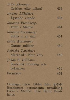 FORM 1964/7 Form i Malmö, Norrköping,New York,lampor,Gatans möbler,Gösta Hillfon