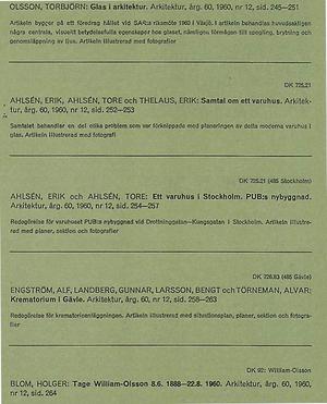 ARKITEKTUR 1960/12 PUB, Paul  U Bergström, glas, Torbjörn Olsson, Erik och Tore Ahisén, TAGE WILLIAM-OLSSON, Krematorium Gävle, Alf Engström, Gunnar Landberg, Bengt Larsson, Alvar Törneman.